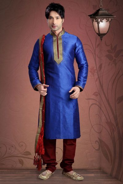 Royal Blue Jacquard Kurta Pajama for Men (NMK-2039)