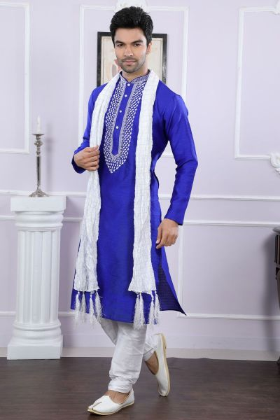 Royal Blue Jaquard Designer Kurta Pajama (NMK-4076)