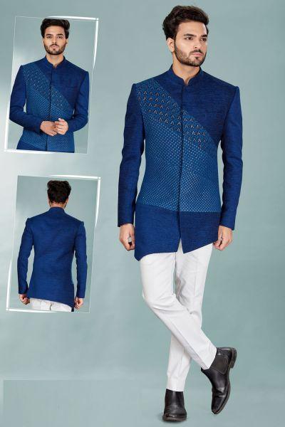 Royal Blue Lucknowi, Jute Indowestern (NMK-5095)