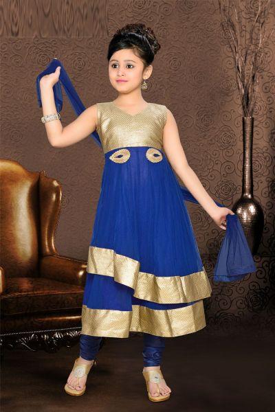 Royal Blue Net Girls Salwar Kameez (NFG-078)