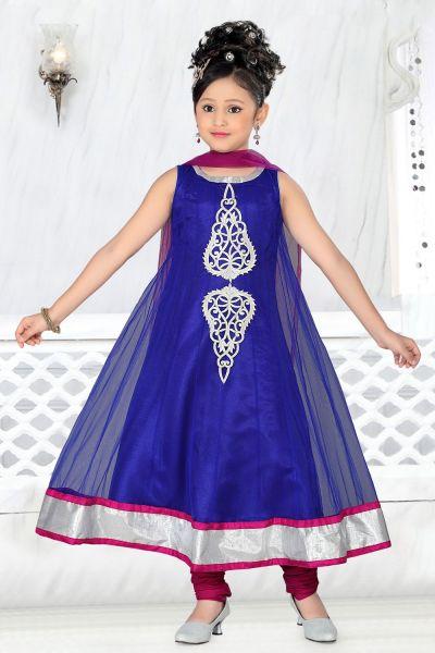Royal Blue Net Kids Salwar Kameez (NFG-008)
