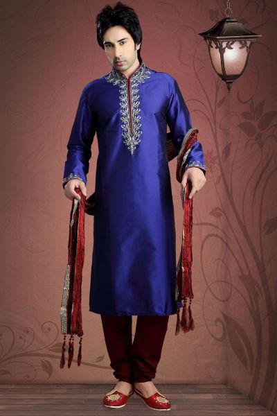 Royal Blue Tuffeta Designer Kurta Pajama (NMK-2031)