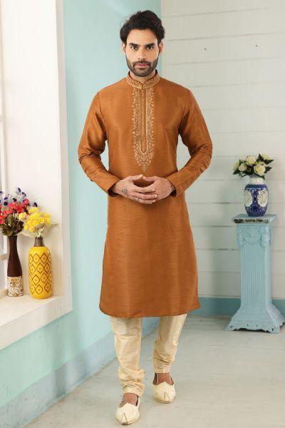 Rust Art Banarasi Silk Kurta Pajama (NMK-5064)