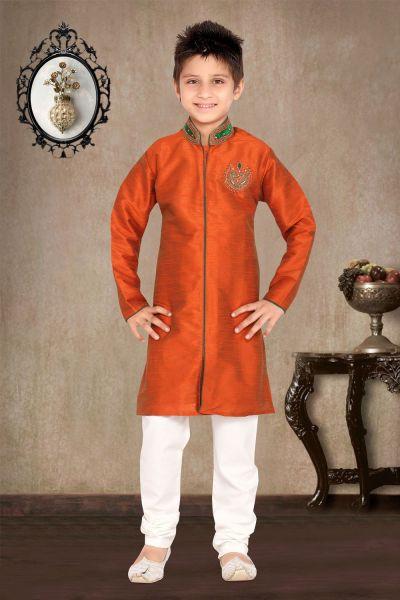Rust Art Dupion Kids Sherwani (NKK-459)