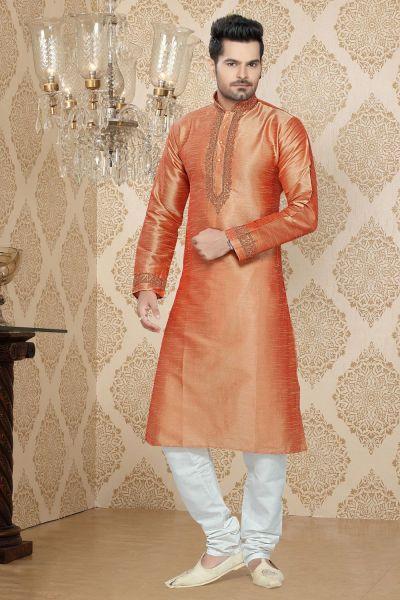Rust Art Silk Casual Kurta Pajama (NMK-2259)