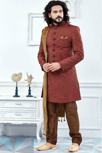 Rust Jaquard Sherwani (NMK-4119)