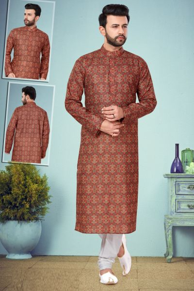 Rust Printed Cotton Silk Kurta Pajama (NMK-4833)