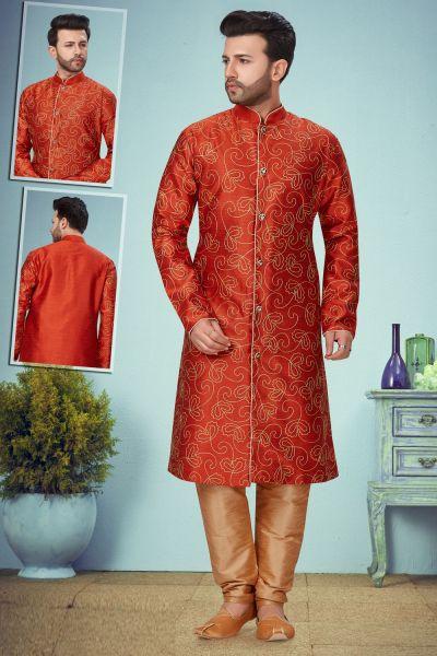 Rust Zarna Silk Mens Kurta Pajama (NMK-5088)