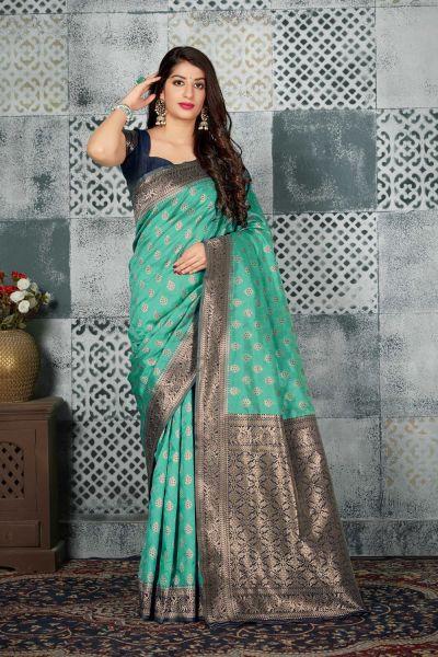 Sea Green Banarasi Silk Saree (NWSA-4598)