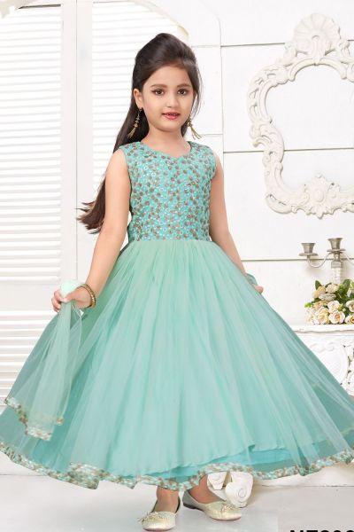 Sea Green Net Girls Salwar Kameez (NFG-224)