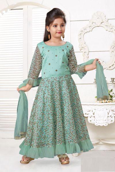 Sea Green Net, Silk Girls Salwar Kameez (NFG-214)