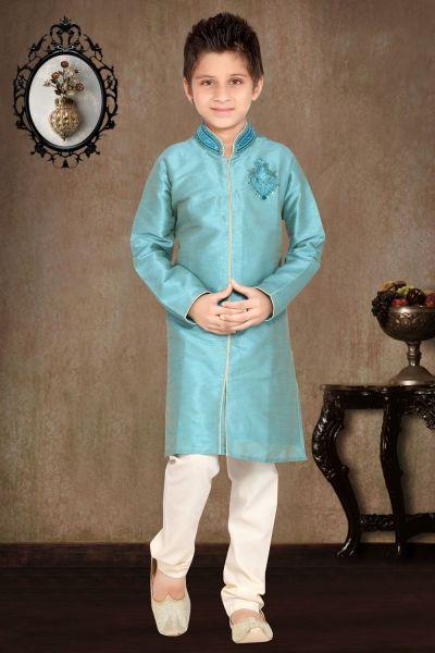 Sky Blue Art Dupion Kids Sherwani (NKK-462)