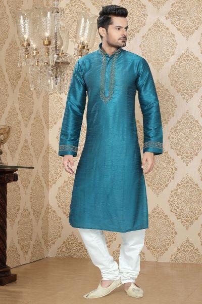 Sky Blue Art Silk Kurta Pajama for Mens (NMK-2271)