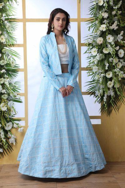 Sky Blue Art Silk Lehenga Choli (NWG-464)