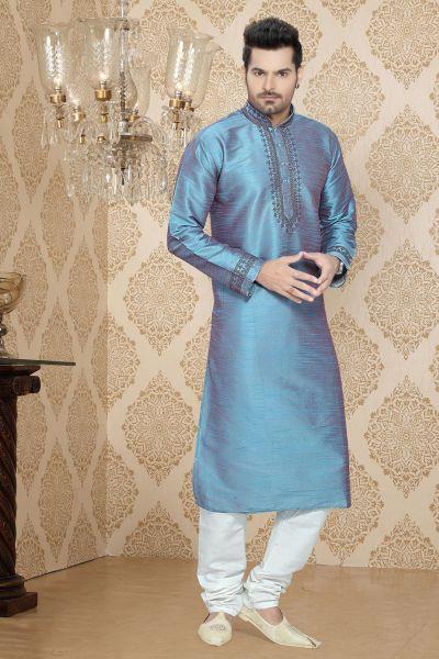 Sky Blue Art Silk Regular Kurta Pajama (NMK-2257)