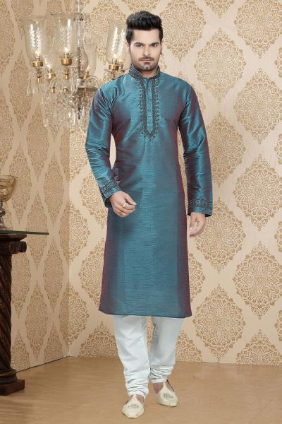 Sky Blue Art Silk Regular Kurta Pajama (NMK-2265)