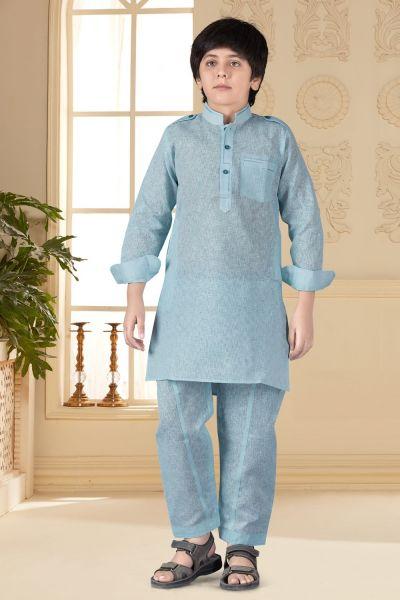 Sky Blue Cotton Silk Kids Pathani Suit (NKK-664)