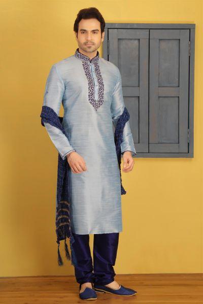 Sky Blue Dupion Art Silk Casual Kurta Pajama (NMK-3744)