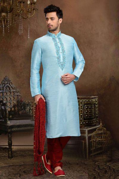 Sky Blue Dupion Art Silk Kurta Pajama (NMK-3080)