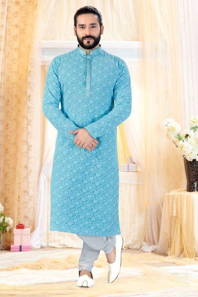 Sky Blue Georgette Lucknowi Kurta Pajama (NMK-4238)