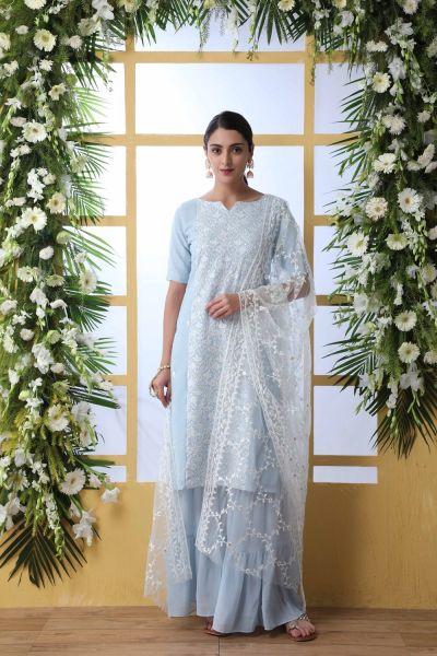 Sky Blue Georgette Salwar Kameez (NWS-5044)