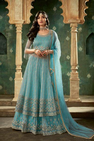 Sky Blue Net Salwar Kameez (NWS-4874)