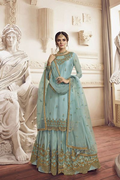 Sky Blue Net Salwar Kameez (NWS-5106)