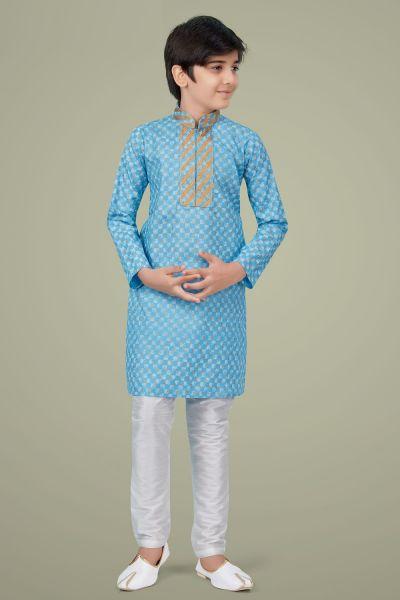 Sky Blue Printed Cotton Silk Boys Kurta Pajama (NKK-710)