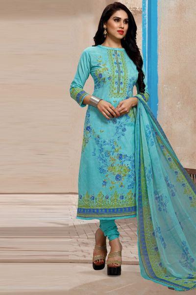 Sky Blue Pure Lawn Cotton Salwar Kameez (NWS-4873)