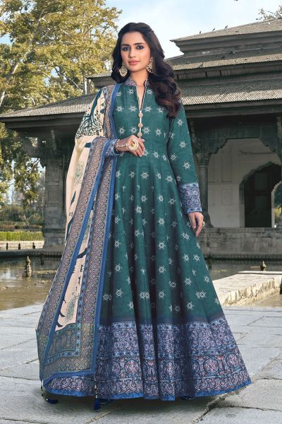 Slate Blue Silk Salwar Kameez (NWS-6020)