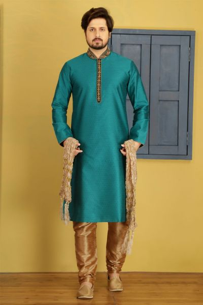 Teal Art Banarasi Silk Designer Kurta Pajama (NMK-3685)