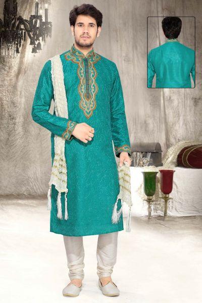 Teal Blue Art Silk Designer Kurta Pajama (NMK-2326)