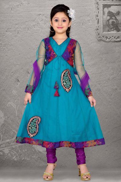 Teal Blue Net Girls Salwar Kameez (NFG-050)