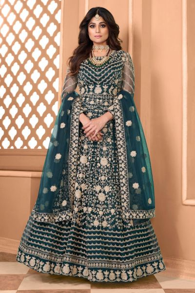 Teal Blue Net Salwar Kameez (NWS-5906)