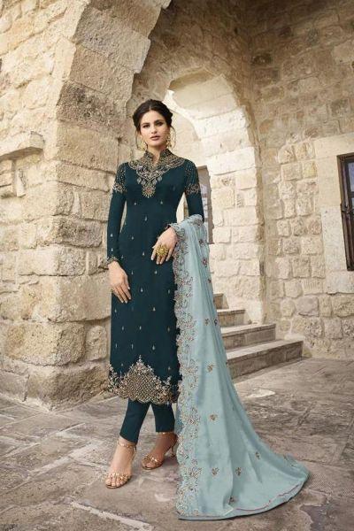Teal Blue Satin Georgette Salwar Kameez (NWS-5959)