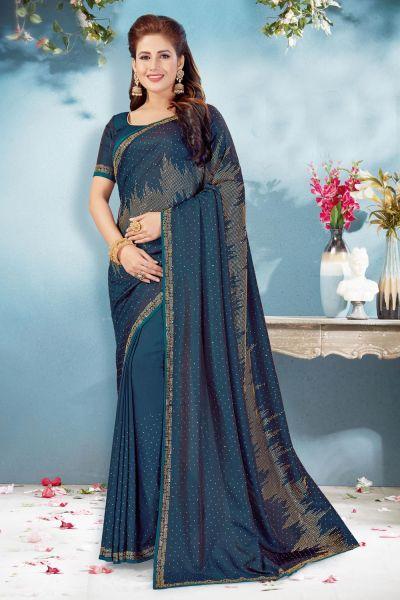 Teal Blue Soft Silk Saree (NWSA-5072)