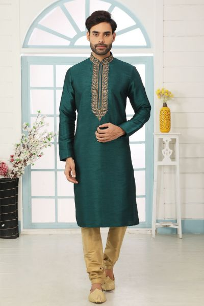 Teal Green Art Banarasi Silk Kurta Pajama (NMK-5074)