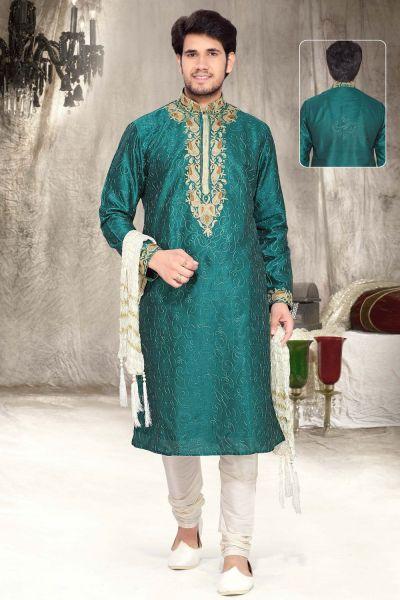 Teal Green Art Silk Designer Kurta Pajama (NMK-2305)