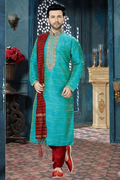 Teal Green Banglori Silk Designer Kurta Pajama (NMK-3822)