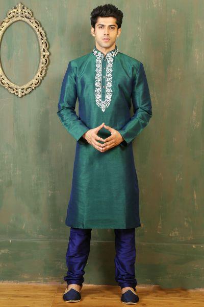 Teal Green Dupion Art Silk Kurta Pajama (NMK-3313)