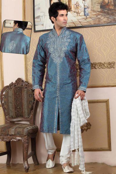 Turquoise Art Dupion Designer Kurtas (NMK-775)