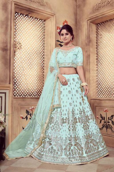 Turquoise Blue Silk Bollywood Lehenga Choli (NWG-327)