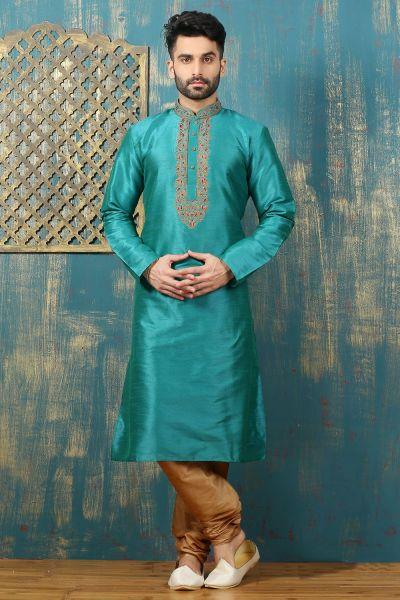 Turquoise Dupion Art Silk Kurta Pajama (NMK-3318)