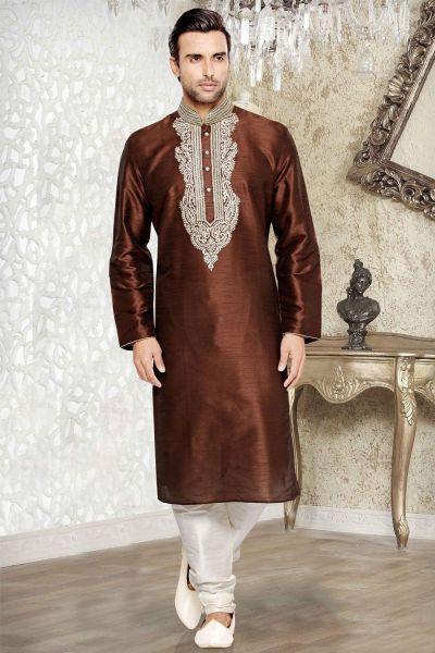 Turquoise Dupion Art Silk Regular Kurta Pajama (NMK-3037)