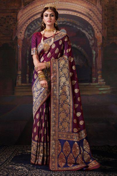 Violet Banarasi Silk Saree (NWSA-5176)
