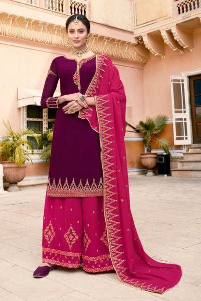 Violet Soft Georgette Salwar Kameez (NWS-5066)