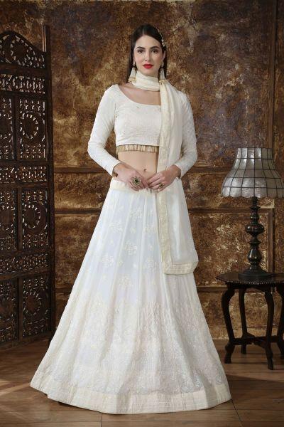 White Georgette Bollywood Lehenga Choli (NWG-314)