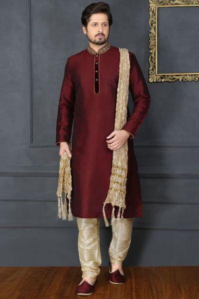 Wine Art Banarasi Silk Designer Kurta Pajama (NMK-3677)