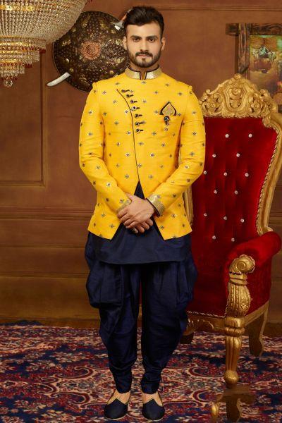 Yellow Art Banarasi Silk 3 Pcs Jodhpuri Set (NMK-3944)