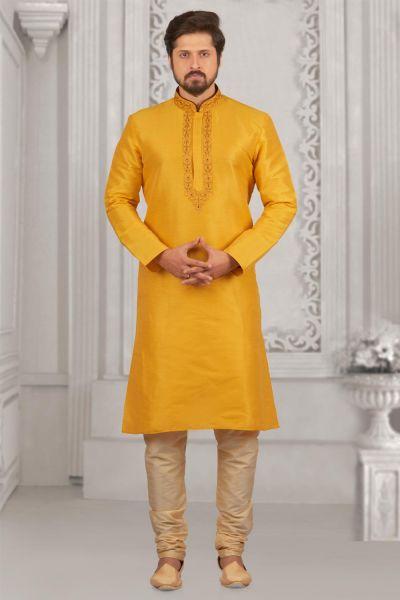Yellow Art Banarasi Silk Kurta Pajama (NMK-4017)